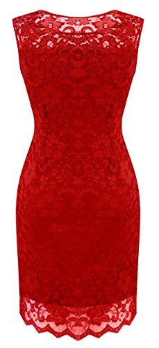 Full Red Little Party Sylvestidoso Con Body Dress Sleeveless Cardinal Cocktail Women's Lace xCPqUwT