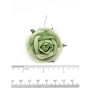 """2"""" Green Paper Flowers Paper Rose Artificial Flowers Fake Flowers Artificial Roses Paper Craft Flowers Paper Rose Flower Mulberry Paper Flowers 10 Pieces 4"""