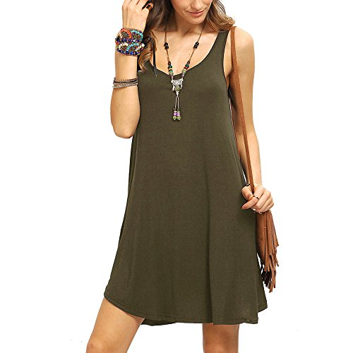 (Women's Summer Spaghetti Strap Casual Swing Tank Beach Cover Up Dress LONGDAY  Basic Solid Camisole Tank Top Vest)