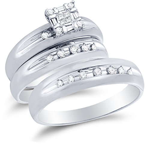 - Sizes - L = 7, M = 10 - 14K White Gold Princess Cut, Round & Baguette Diamond Trio Three Ring Set - Matching His and Hers Engagement Ring & Wedding Bands - Invisible & Channel Set Square Princess Center Setting Shape (1/3 cttw.) - Please use drop down menu to select your desired ring sizes