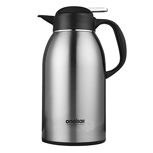 ONEISALL GYBL106 2200ML Stainless Steel Thermal Coffee Carafe, Double Walled Vacuum Insulated Carafe with Press Button Top, Thermal Pitcher, Beverage Dispenser, 1.2KG (Silver) Insulated Coffee Urn