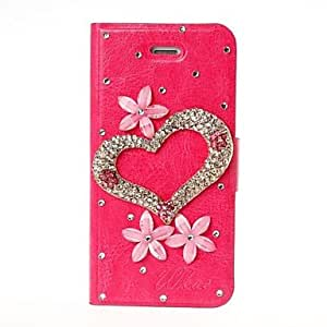 JJEDIY 3D Heart and Flower with Rhinestone Pattern Leather Case for iPhone 5/5S