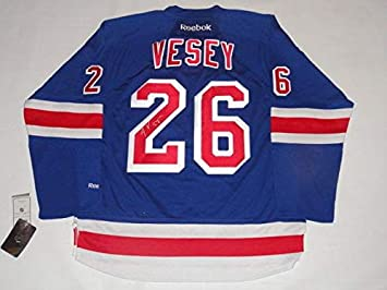 Jimmy (New York Rangers) Vesey Autographed Jersey - Reebok Premier  26 Home  Proof 5efe21819