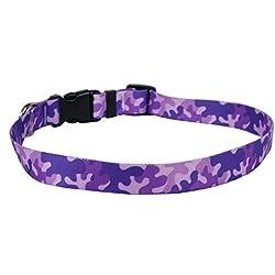 "Yellow Dog Design Camo Purple Dog Collar Fits Neck 14 to 20""/4"" Wide, Medium 3/4"" Wide"