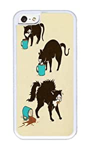 Apple Iphone 5C Case,WENJORS Awesome Coffee Cat Soft Case Protective Shell Cell Phone Cover For Apple Iphone 5C - TPU White