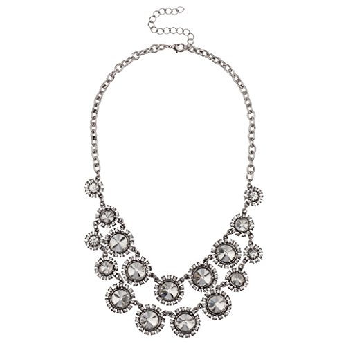 Lux Accessories Crystal Disc Pave Sun Floral Flower Statement Necklace.