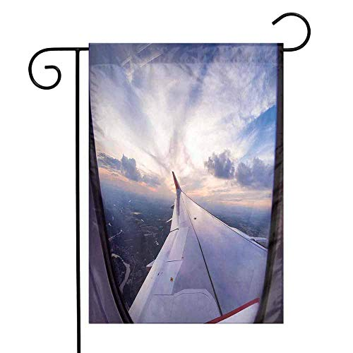 Mannwarehouse Airplane Decor Garden Flag Airplane Travel Time is Sunset Business Distant Evening Float Holiday Horizon Journey Window Premium Material W12 x L18 (Best Time To Travel To Antigua)