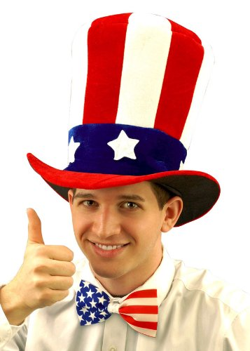 [Forum Novelties Men's Uncle Sam Velvet Novelty Adult Top Hat, Multi, One Size] (Velvet Uncle Sam Top Hat)