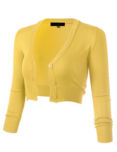 - ARC Studio Women's Solid Button Down 3/4 Sleeve Cropped Bolero Cardigans 1XL Baby Yellow CO129