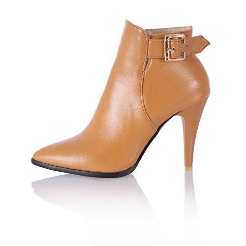 BalaMasa Leather Stiletto Imitated Girls Brown Studded Boots Buckles Rhinestones Metal rFrqwZC