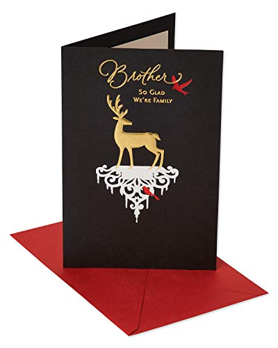 American Greetings Deer Christmas Card for Brother with Foil