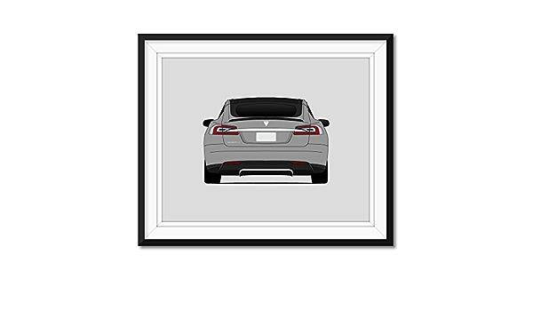 C1 Tesla Motors Tesla Model S Front and Rear View Models: 40, 60D, 70D, P85, P90D, P100D Poster Print Wall Art Decor Handmade