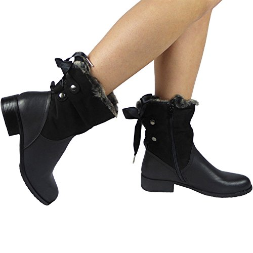 Damen Pelz Futter Farbband Spitze auf Arbeit Knöchel Stiefel Größe 36-41 Schwarz
