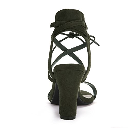 Allegra K Women's Open Toe Ankle Tie Heeled Sandal Army Green 3A3Ac2c2
