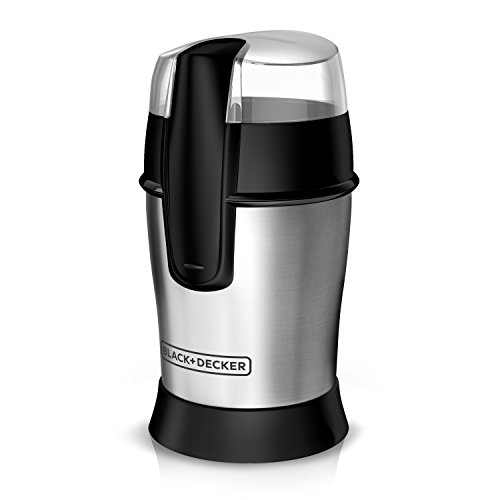 BLACK+DECKER CBG100S Bean Coffee Grinder, Other- Other-Size, White,Stainless