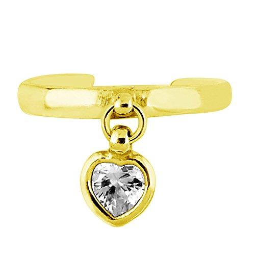 Ritastephens 14k Solid Yellow Gold Dangle Heart Cubic Zirconia Toe Ring Adjustable