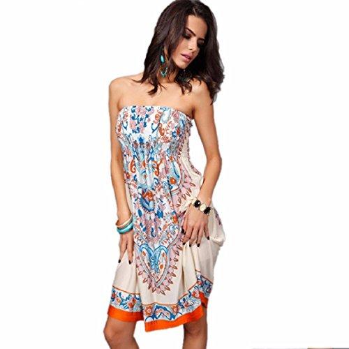 KEEPFUNNY Sexy Women Printing Beach Wear Summer Swimsuit Cover Up Dress (L, Khaki)