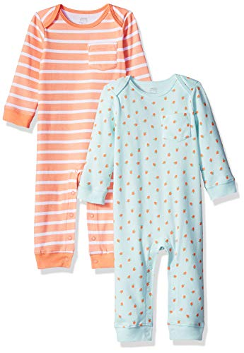 Amazon Essentials Baby 2-Pack Coverall, Girl Fruit, 18M