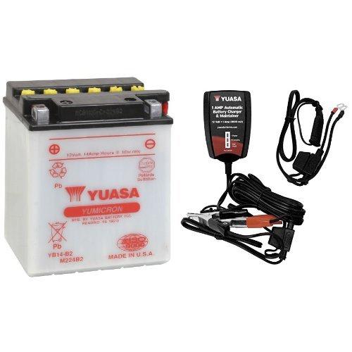 YUASA YUAM224B2 YB14-B2 Battery and Automatic Charger Bundle