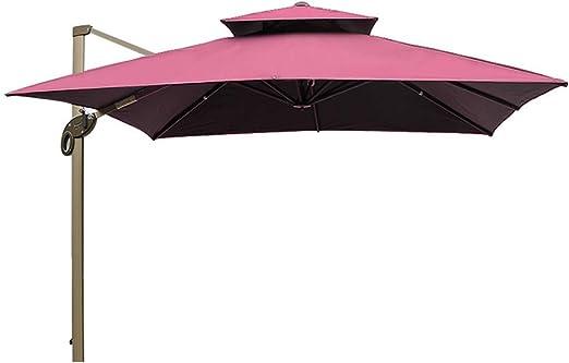 MENG - Sombrilla al aire libre, doble ventilación, protección UV, paraguas romano lateral vertical para exteriores, patio, villa, jardín y terraza, color rojo vino: Amazon.es: Jardín