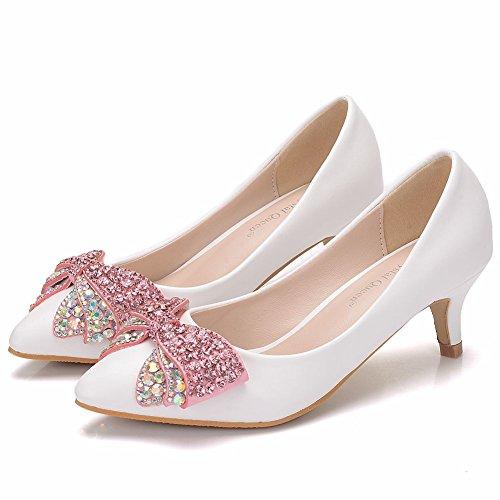 Sko Leit Tie Rosa Hvite Tynne Kvinners Bryllup 5 Diamant Rhinestones Cm Bow 5r45q