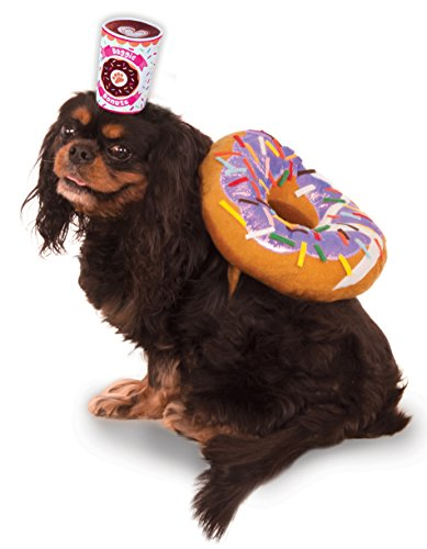 Donut and Coffee Pet Suit, (Halloween Costume Pizza Box)