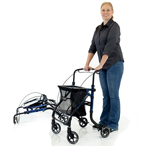 Shop N Go Folding Adjustable Height Walker Rollator + Tote Bag & Tray - Laser Blue color