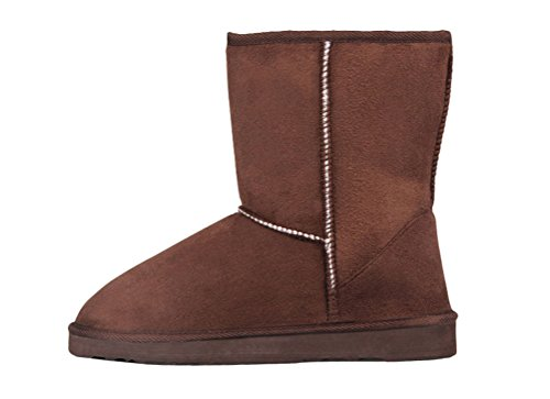 T&Mates Womens Classic Fully Faux Fur Lined Mid Calf Faux Suede Pull-on Flat Snow Boots (7 B(M)US,Camel) (Boot Suede Womens Renaissance)