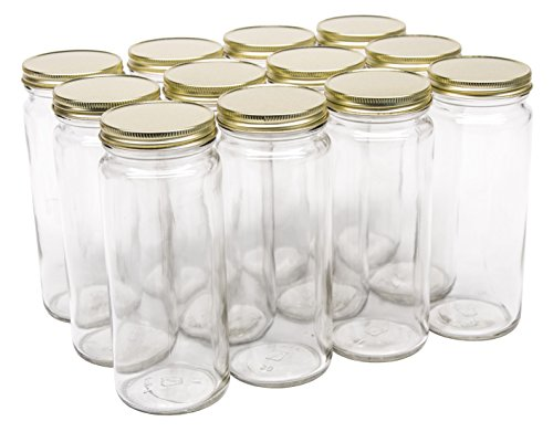 Jar Glass Tall (North Mountain Supply 16 Ounce Glass Tall Straight Sided Mason Canning Jars - With 63mm Gold Metal Lids - Case of 12)