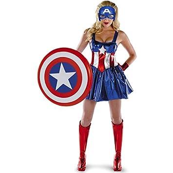 Ladies The Avengers Captain America Fancy Dress Womens Superhero Costume size 12 14 8667  sc 1 st  Amazon UK & Ladies The Avengers Captain America Fancy Dress Womens Superhero ...