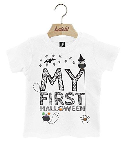 Batch1 My First Halloween Cute Fancy Dress Popper Neck Baby T-Shirt (3-6 Months, White)