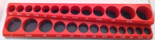 "3/8"" Drive 26pc Magnetic SAE Socket Holder 13 Deep 13 Shallow"