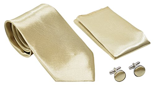 Kingsquare Solid Color Men's Tie, Pocket Square, and Cufflinks matching set (Champagne)