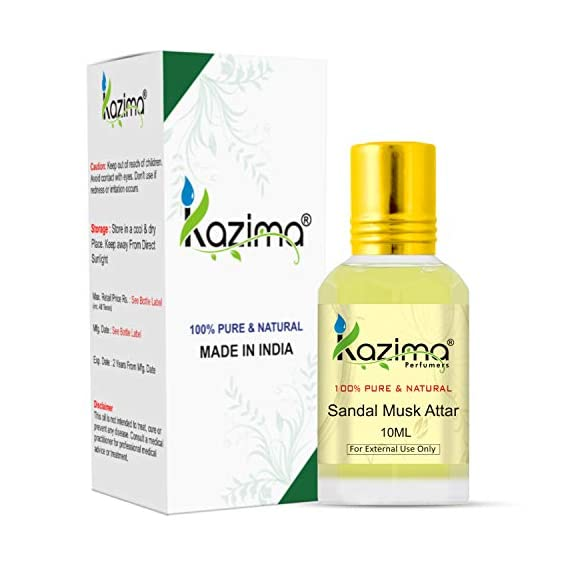KAZIMA Sandal Musk Attar Perfume For Unisex - Pure Natural Undiluted (Non-Alcoholic) (10ml)