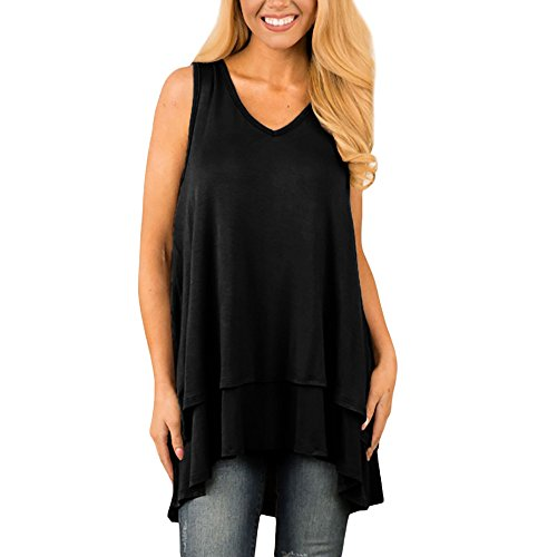 Londony✚‿✚ Womens Tunic Plus Size Candy Color Long Flowy Tank Top V-Neck Loose Basic T Shirt Black]()