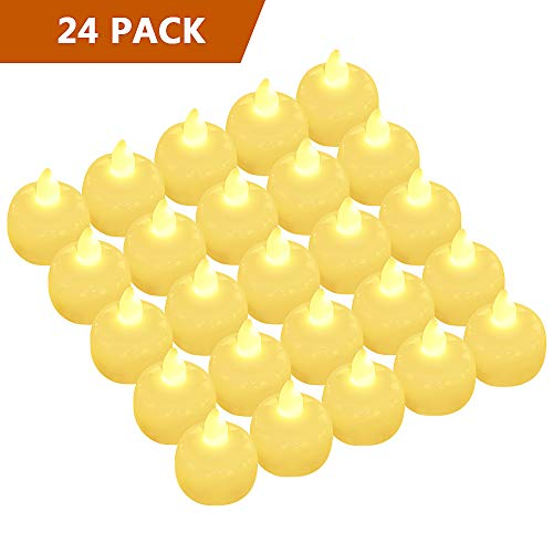 Floating Flameless Candles, Waterproof Flickering LED Tea Lights Battery Operated for Wedding Party Pool SPA - Warm White