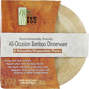 Bamboo Studio 9-Inch Round Plate, 8-Pack, Natural Color