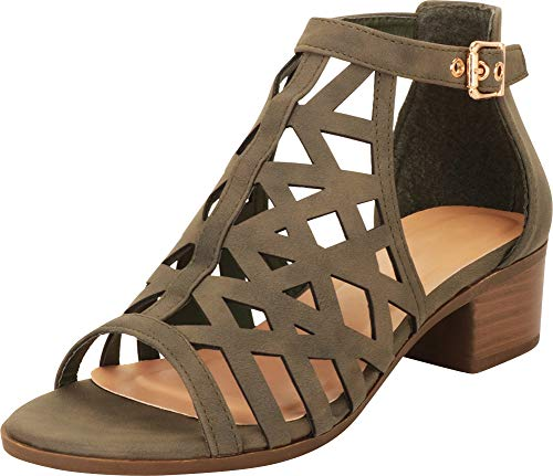 - Cambridge Select Women's Open Toe Laser Cutout Caged Chunky Block Heel Ankle Bootie,10 B(M) US,Olive Green NBPU