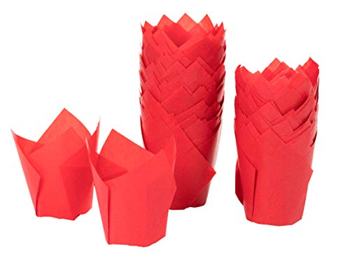 (Tulip Cupcake Liners - 100-Pack Medium Baking Cups, Muffin Wrappers, Perfect for Birthday Parties, Weddings, Baby Showers, Bakeries, Catering, Restaurants, Red)