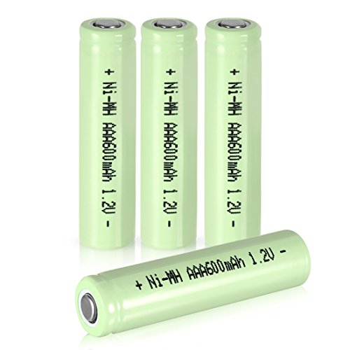 uxcell® 4 Pcs 1.2V 600mAh AAA Ni-MH Battery Shaver Rechargeable Batteries Flat Head for Solar lights Garden Lamp