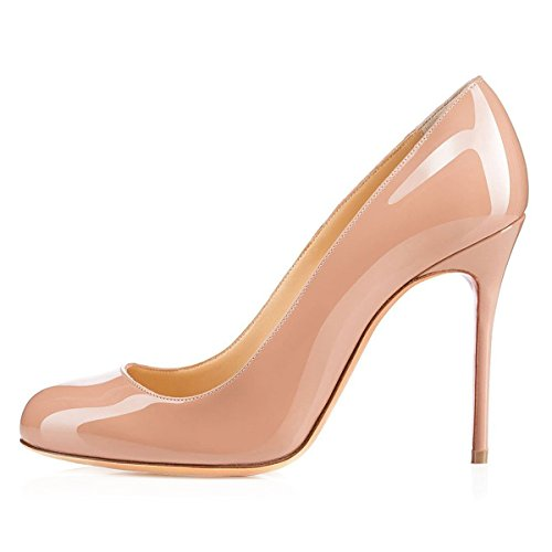 YDN Women Classic Round Toe High Heels Pumps Slip On Stilettos Party Prom Shoes Nude-shiny Pu footlocker pictures for sale clearance hot sale cheap sale explore choice cheap online 1r7HHhv