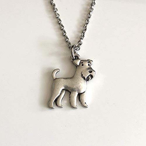 Airedale Terrier or Schnauzer Dog Necklace - Dog Breed Pendant with Stainless Steel Chain - Dog Mom Gift