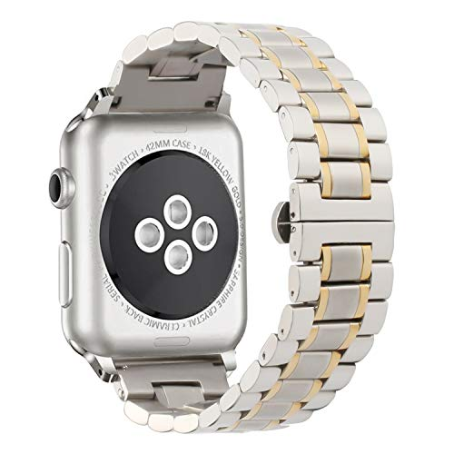 WISLECT Stainless Steel Watch Band Compatible Apple Watch Bands 38mm 42mm Straps, Adjustable Metal Watch Wrist Bands