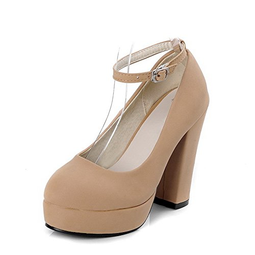 Toe AllhqFashion On Heels Apricot Solid Flock High Closed Womens Pointed Pumps Shoes Pull xwpHx