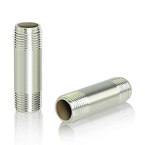 "Taisher 2Pcs Stainless Steel Pipe Fittings, 1/4"" NPT x 1/4"" NPT Male Threaded, 2"" Length Nipple Cast Pipe"