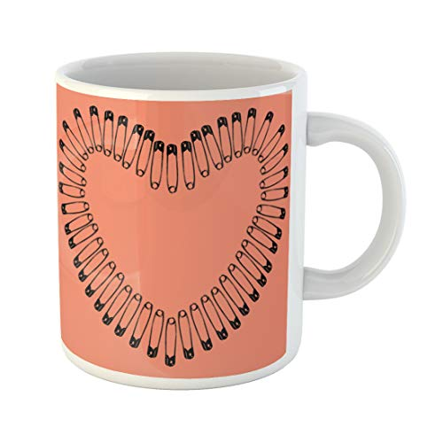 (Semtomn Funny Coffee Mug Pink Abstract Safety Pins Arranged in Heart Shape Accessory 11 Oz Ceramic Coffee Mugs Tea Cup Best Gift Or Souvenir)
