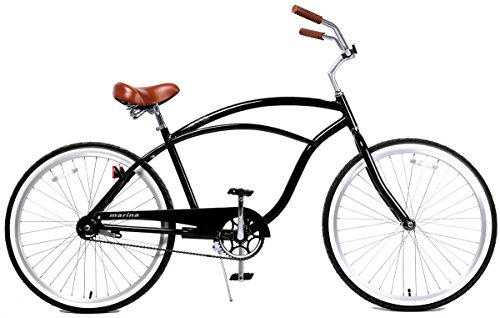 Fito Men's Marina 2.0 Aluminum Alloy 1 Speed Beach Cruiser Bike, Black, 18″/One Size For Sale