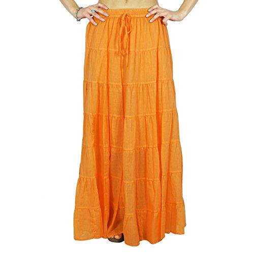 vtements vtements plage Jupe jupe Phagun de longue Maxi Orange Vtements d't coton x8FqI4