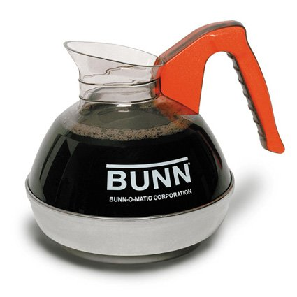 12 Cup Pour O-matic Decanters - Bunn 06101.0101 64 oz. Easy Pour Coffee Decanter with Orange Handle and Stainless Steel Bottom