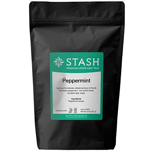 (Stash Tea Peppermint Herbal Loose Leaf Tea 8 Ounce Pouch (.50 lb.) Loose Leaf Premium Herbal Tea for Use with Tea Infusers Tea Strainers or Teapots, Drink Hot or Iced, Sweetened or Plain)